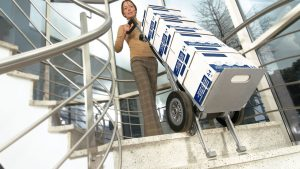paper delivery steps woman